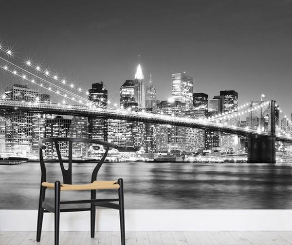Kaupunki Tapetti  Brooklyn Bridge Tapetti New York Mustavalkoinen