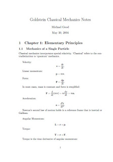 Goldstein Classical Mechanics Notes