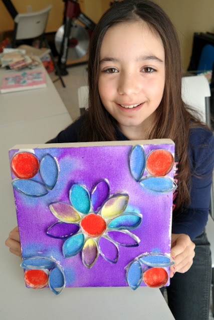 Multicolor Painted Paper Roll Flower Canvas by Claire Tatar