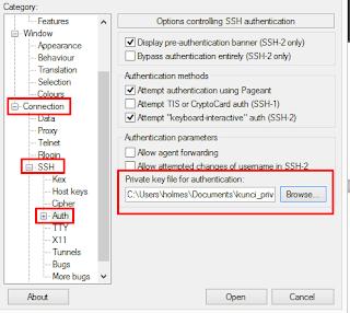 Mengkonfigurasi private key untuk putty
