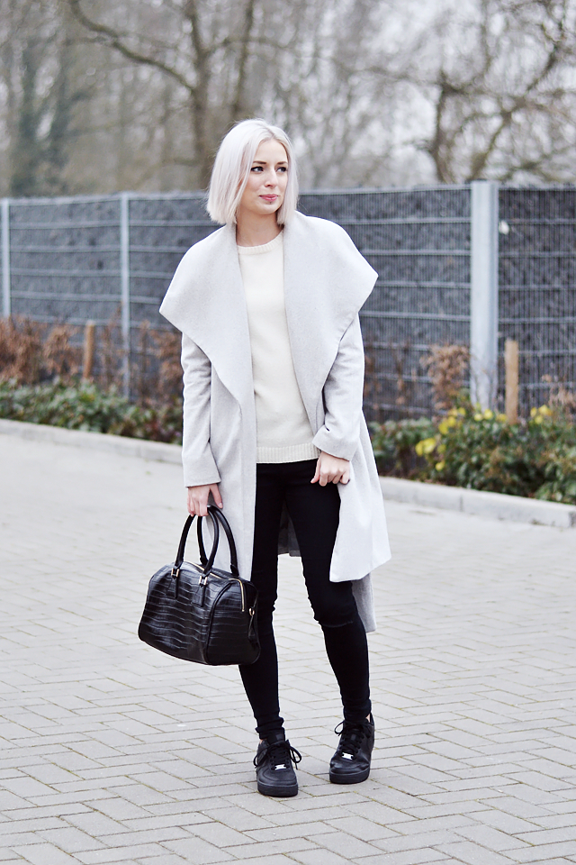 Outfit post, grey lapel coat, mango winter, 2014, 2015, zara wool sweater, nike air force one