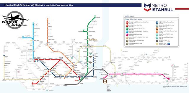 Plano de transporte público de Estambul: Metro y Tranvía.