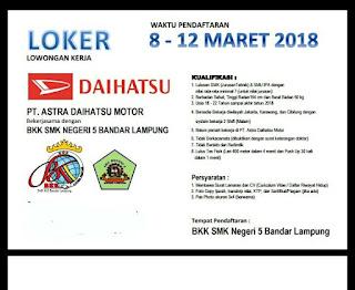 Hadirilah Tgl 08-12 Maret 2018 Tes Kerja di SMK Negeri 5 Bandar Lampung Untuk Bekerja di PT. Astra Daihatsu Motor (ADM)