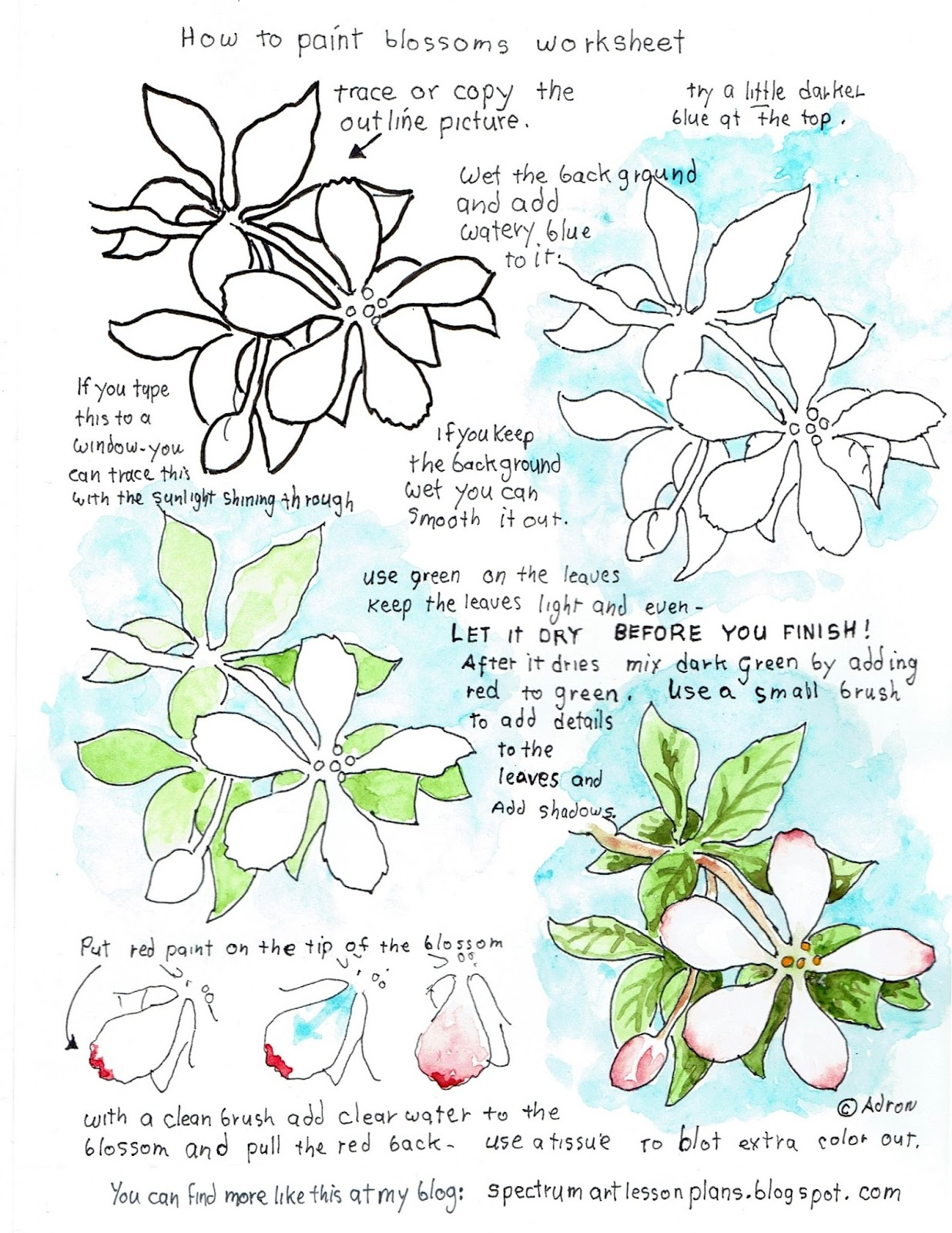 Adron S Art Lesson Plans How To Paint Blossoms Easy