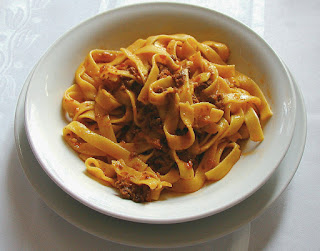 Tagliatelle bolognese, one of Bologna's most famous dishes