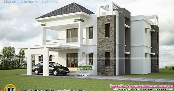 Modern Sloped Roof Villa Exterior Kerala Home Design And