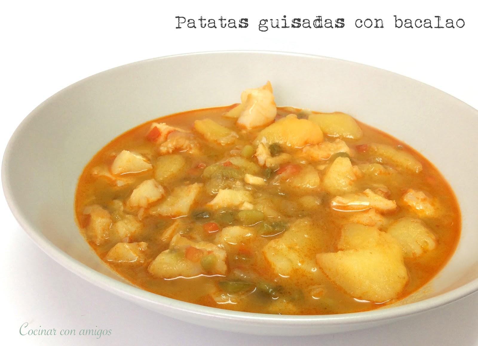 Patatas guisadas con bacalao cocinar con amigos - Bacalao con garbanzos y patatas ...