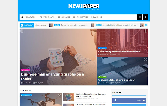 Newspaper Responsive Magazine News Portal Blogger Template Theme
