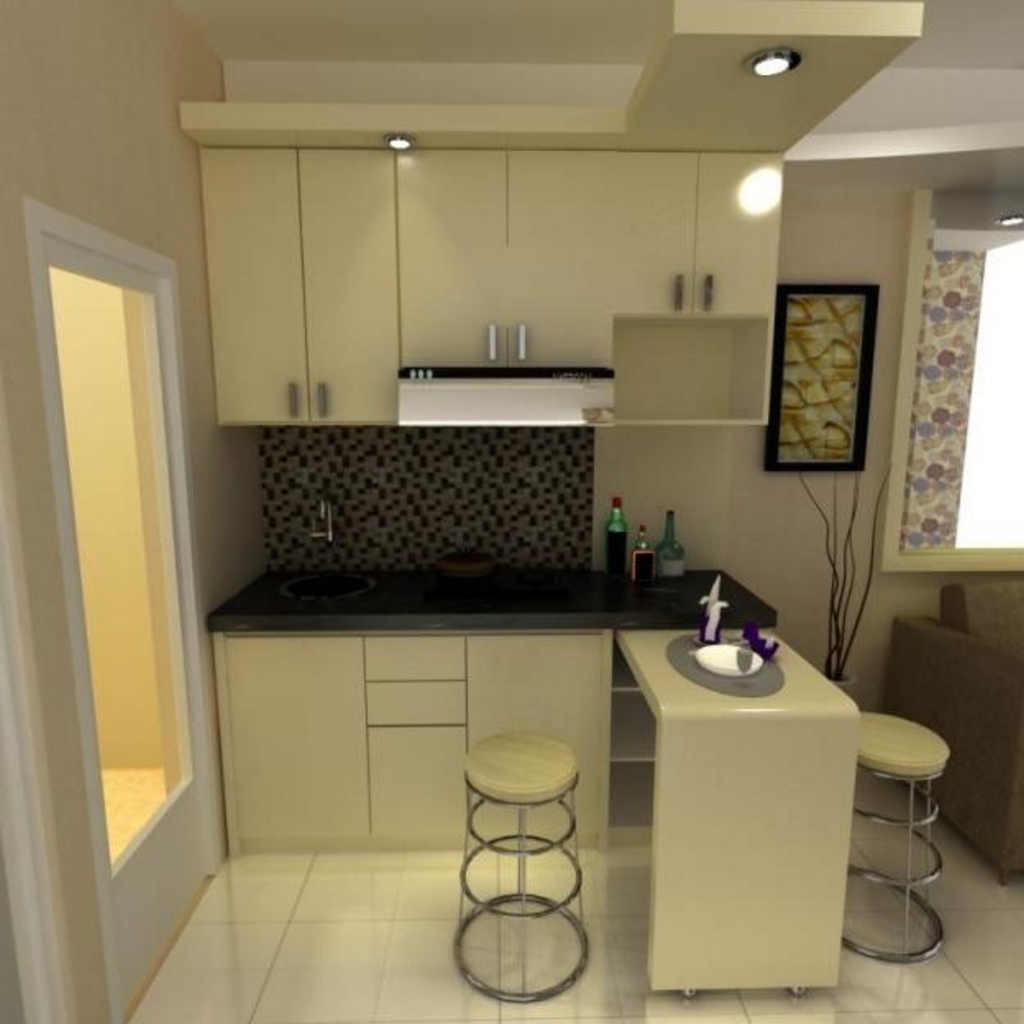 model kitchen set dan mini bar yang minimalis