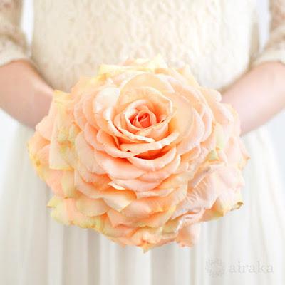 バラのメリアブーケ(オレンジ)-ウェディングブーケと花髪飾りairaka