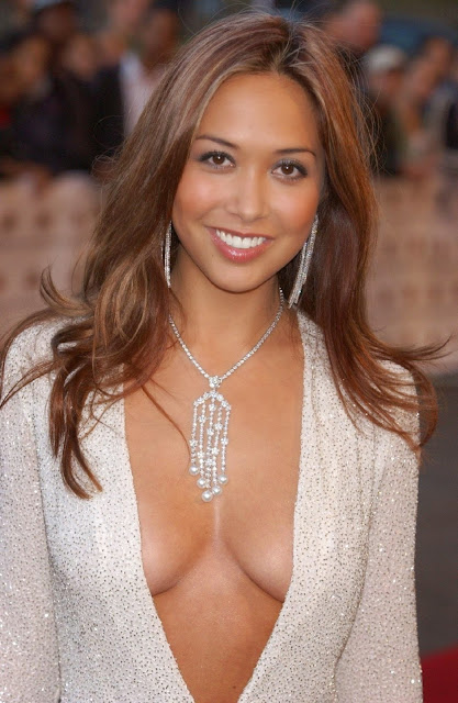 Myleene Klass white dress fashion photos