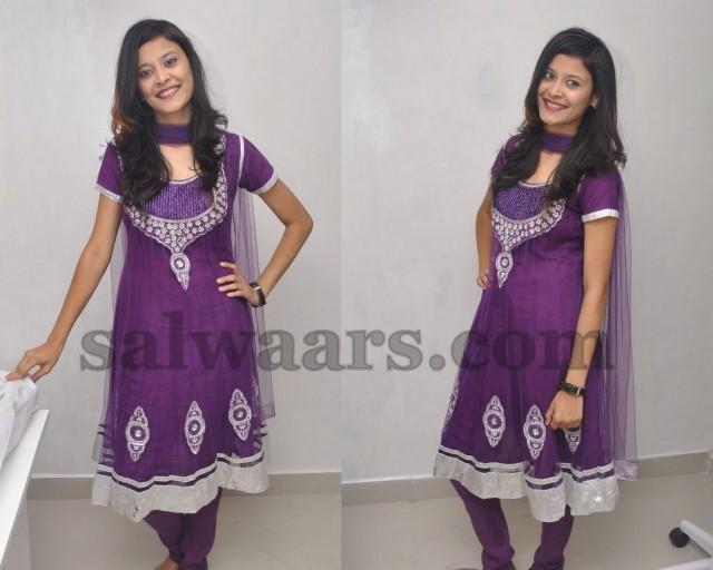 Telugu Actress Jyothi In Blue Salwar: Telugu Actress Purple Salwar