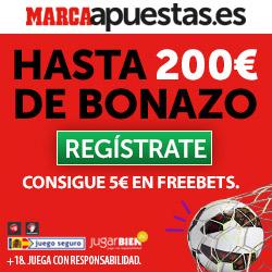 marca apuestas bono bienvenida 200 euros + 5 euros gratis freebet codigo JRVM