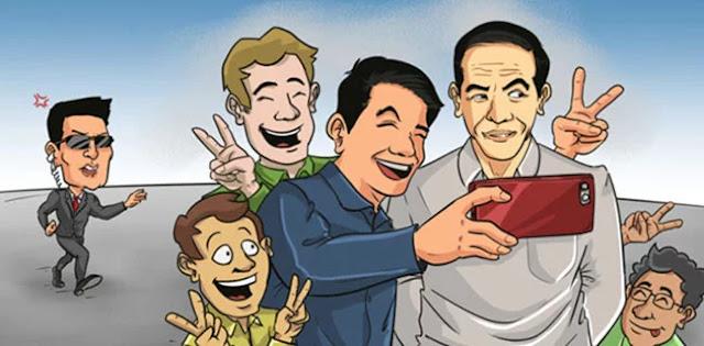 Uji Nyali, Wefie Salam Dua Jari Bersama Jokowi