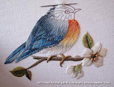 Trish Burr Bluebird: Embroidered bluebird nearly complete (in needlepainting)