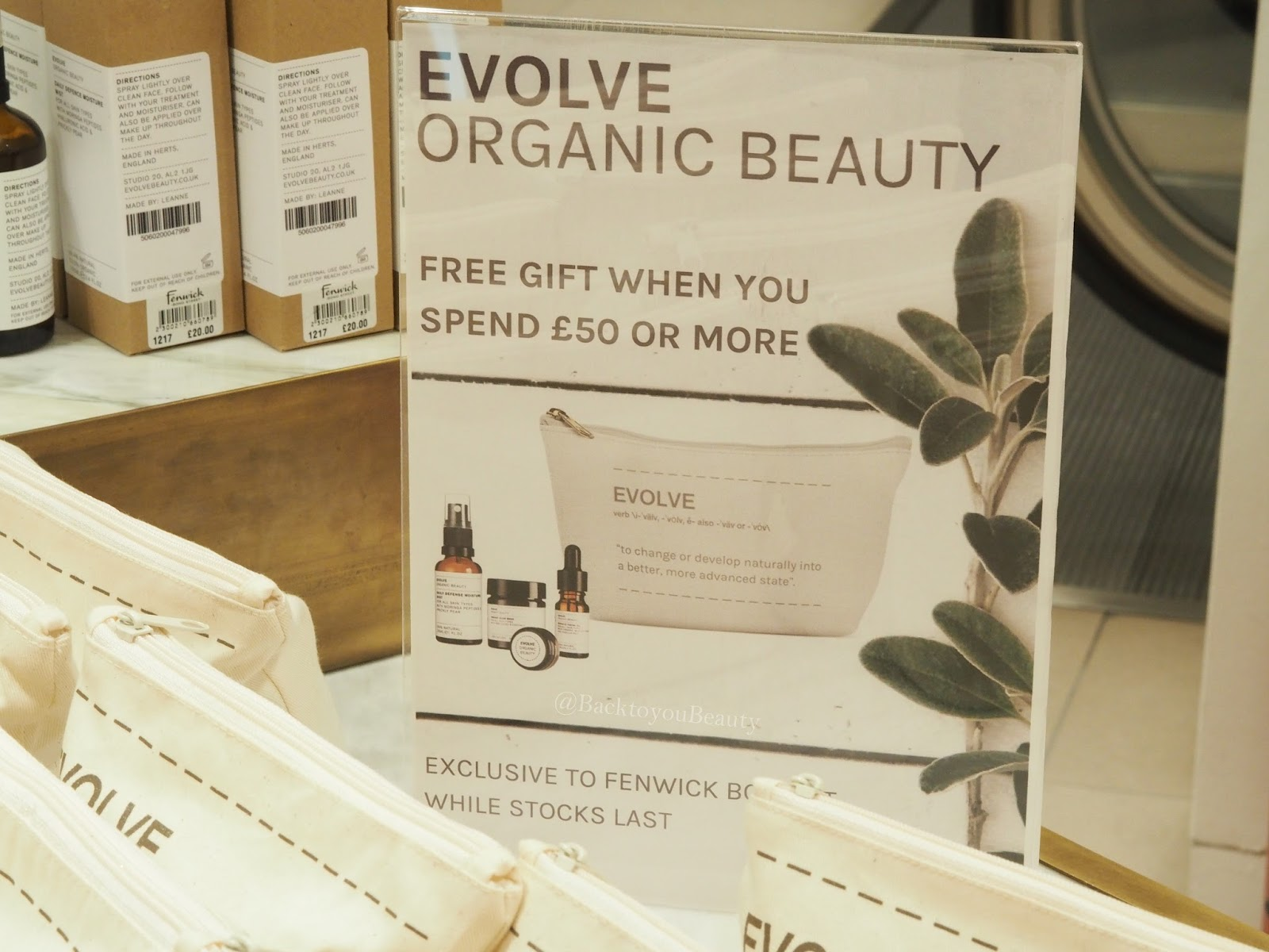 Evolve Beauty Free gift with £50 spend Fenwick