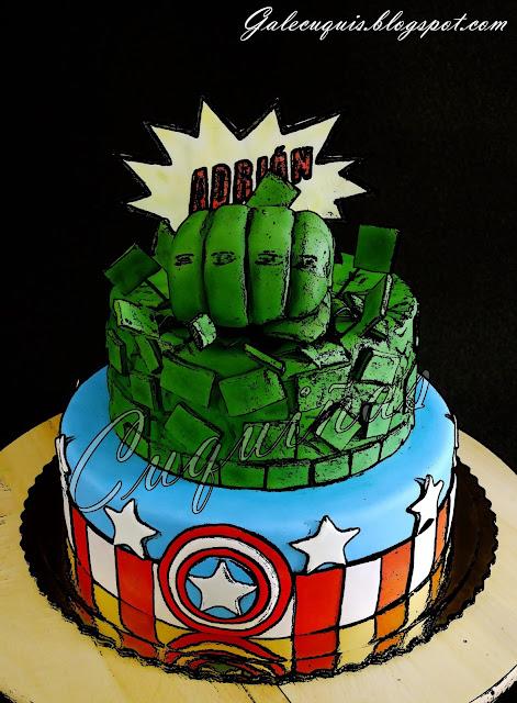 Tarta de Hulk Capitán América efecto cómic