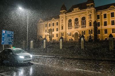 Márton Áron Főgimnázium, havazás márciusban, Székelyföld, Csíkszereda, időjárás
