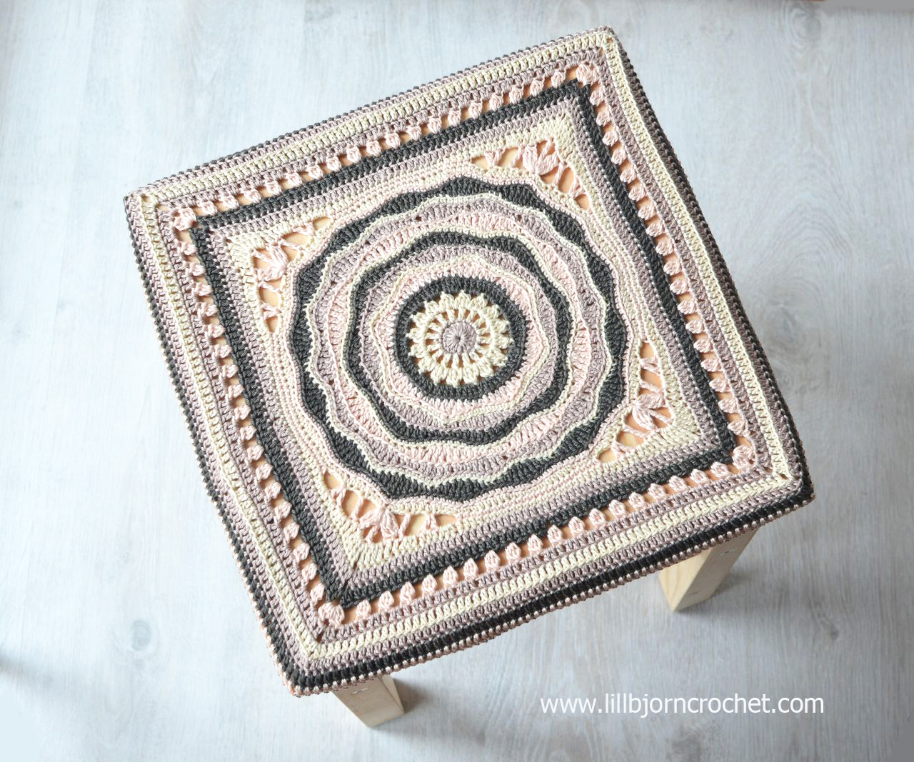 """Stool cover made with Oceanic Rose 12"""" afghan square - by Lilla Bjorn Crochet"""