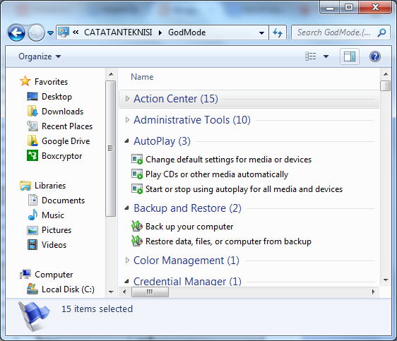 GodMode Windows 7