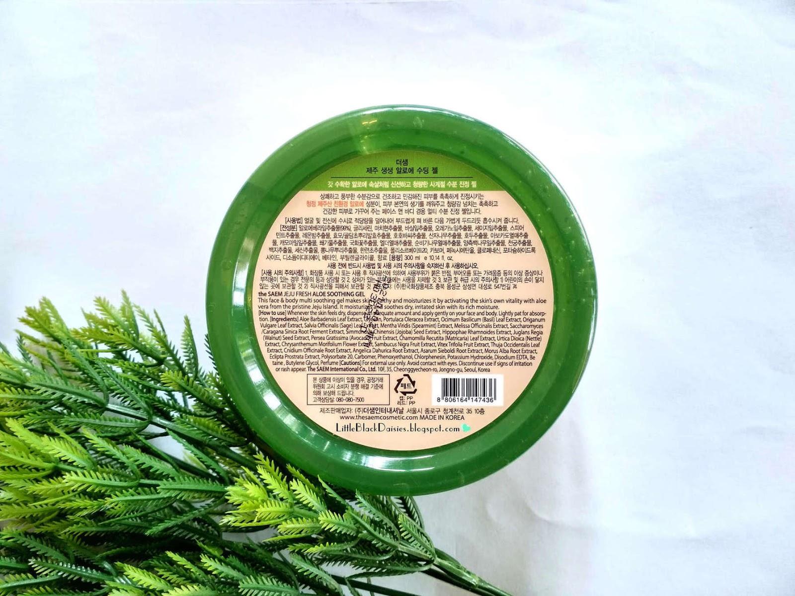 The Saem 99 Jeju Fresh Aloe Soothing Gel Review Little Black Daisies Dari Ini Tersedia Dalam 2 Bentuk Dan Berbagai Ukuran Ada Yang Tube Juga Jar Isinya Pun Beragam Ml