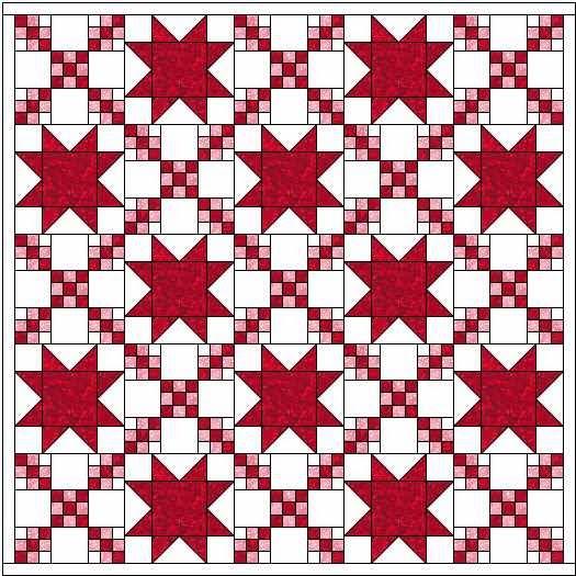 quiltpatroon ninepatch en ster meerdere kleuren