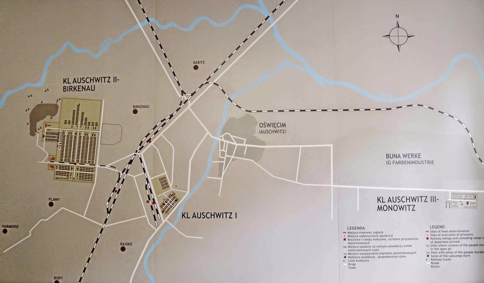 Map of Auschwitz 1 and Auschwitz Birkenau
