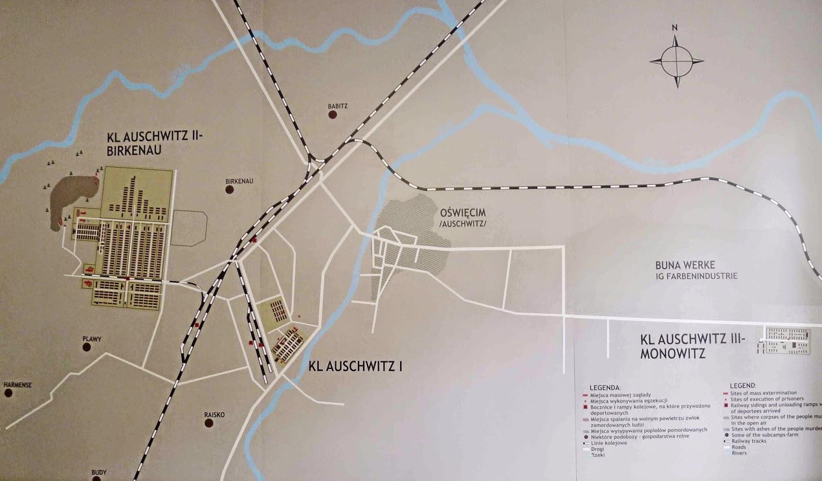 Map of Auschwitz 1 and Auschwitz Birkenau