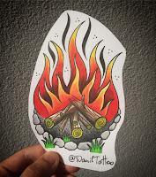 костер тату огонь