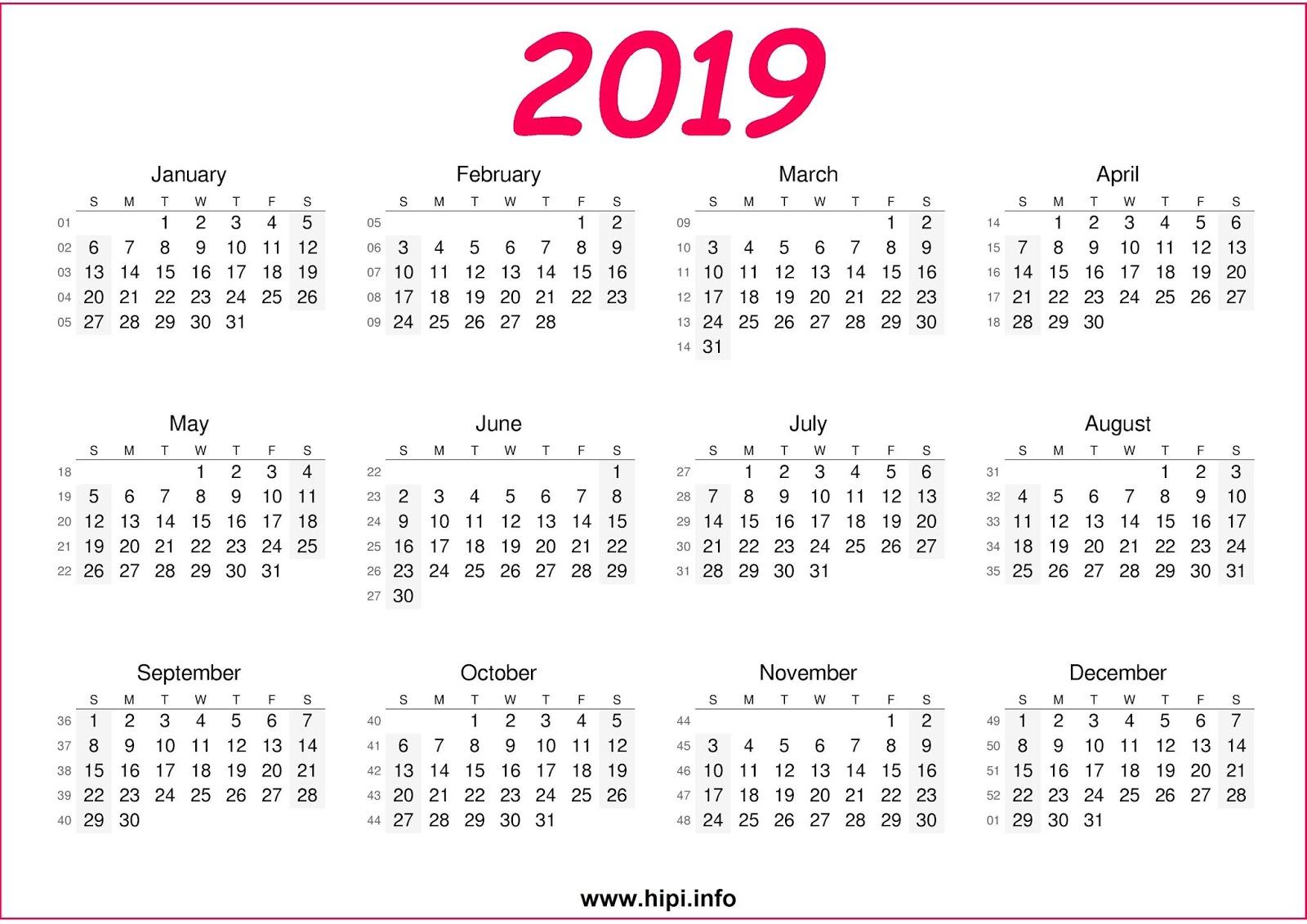 calendar 2019 free download a4 paper size 300 dpi