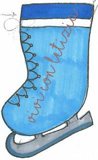 Cartamodello Calze della befana pattino ghiaccio - christmas stocking ice