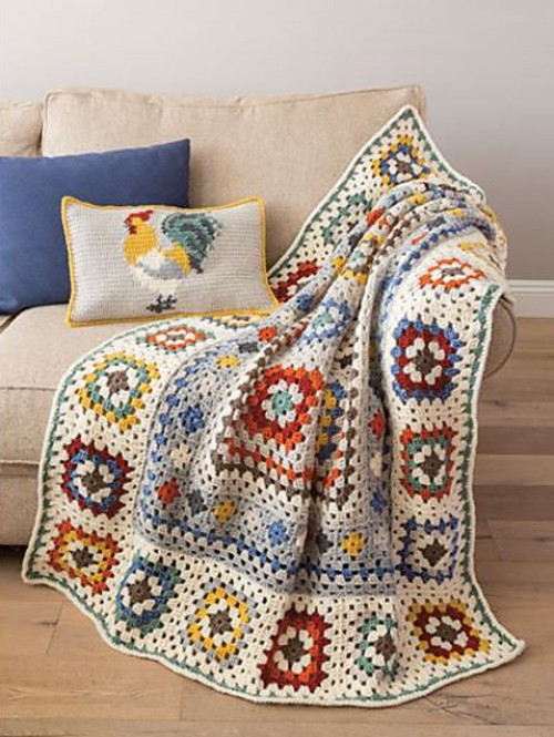 Farmhouse Granny Afghan & Pillow - Crochet Pattern