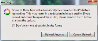 picasa converts the files to jpeg
