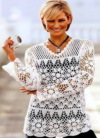 Patrón #1891: Blusa de Encaje a Crochet