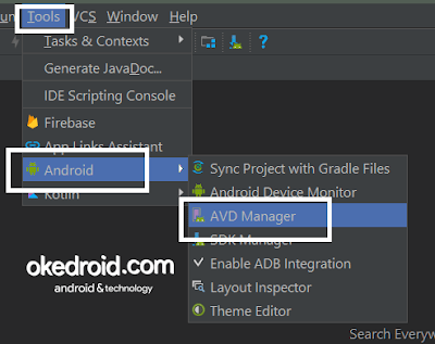 Menu Tools Android Studio