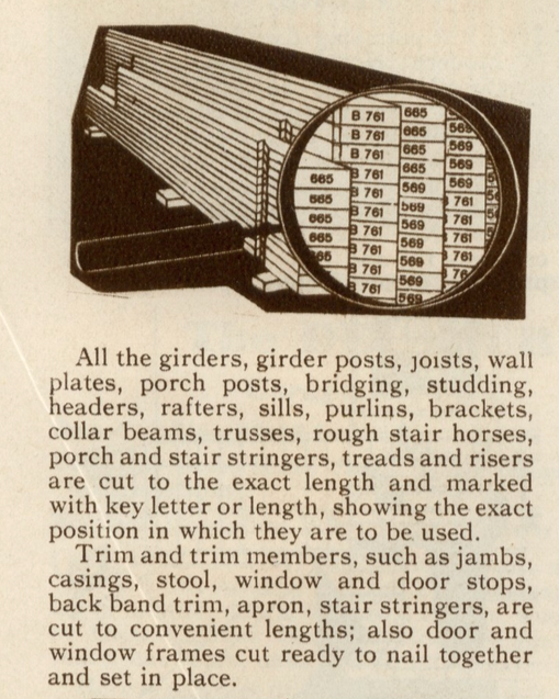 Sears Modern Homes catalog 1930 marked lumber