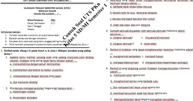 Contoh Soal Uts Pkn Kelas 5 Sd Semester 1 Dan Kunci Jawaban