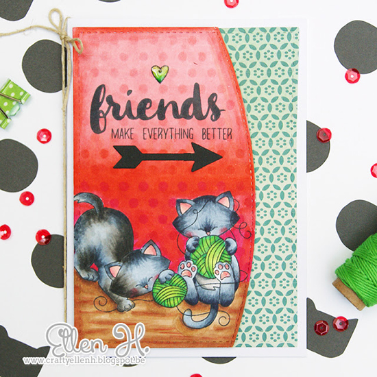 Kitty and Yarn Frienship card by Crafty Ellen | Newton Unwinds stamp set by Newton's Nook Designs | Inky Paws #32 Challenge | #newtonsnook