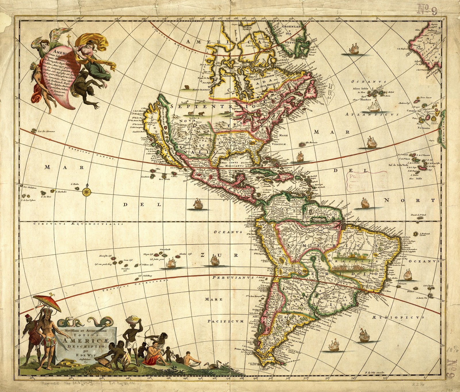 Map of the Americas by Frederik de Wit (1610)