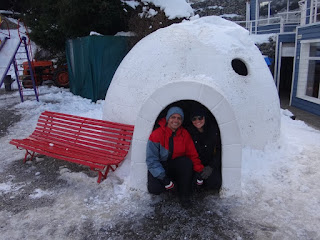 Dentro do iglu no Cerro Catedral em Bariloche