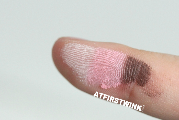 Canmake Gradation Wink eye shadow 03 - Strawberry Tart on finger