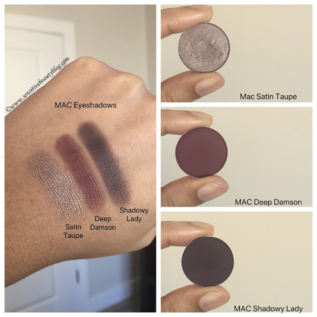 MAC satin taupe deep damson and shadowy lady eyeshadow combo