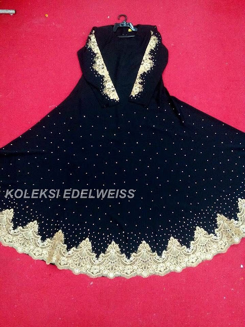 Dress Abaya Glam Warna Hitam Lace Gold