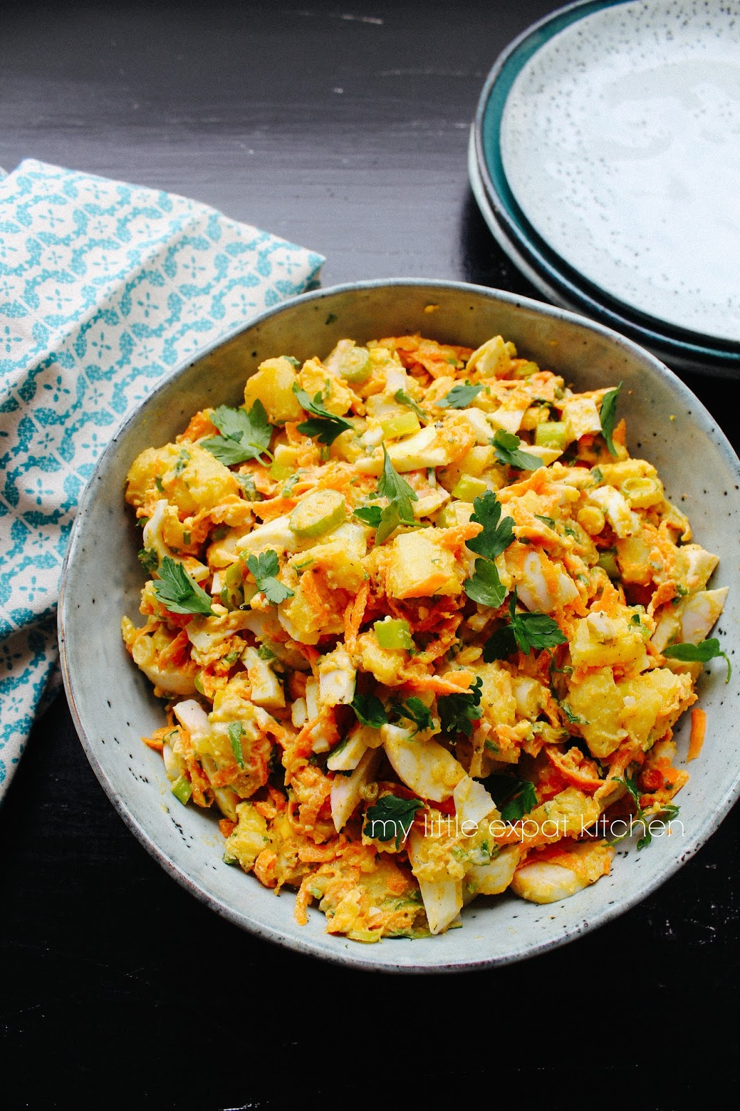 My little expat kitchen potato and egg salad with carrots and spices sweet paprika dried mint cardamom ginger cumin all present but not overwhelming making this otherwise simple salad particularly scrumptious forumfinder Image collections