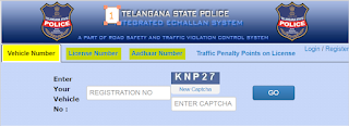 traffic echllan check with aadhar, license, vehicle number