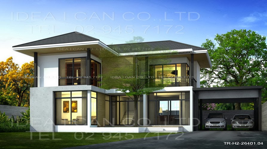 Modern style 2 story home plans for construction in thai for Thai classic house 2