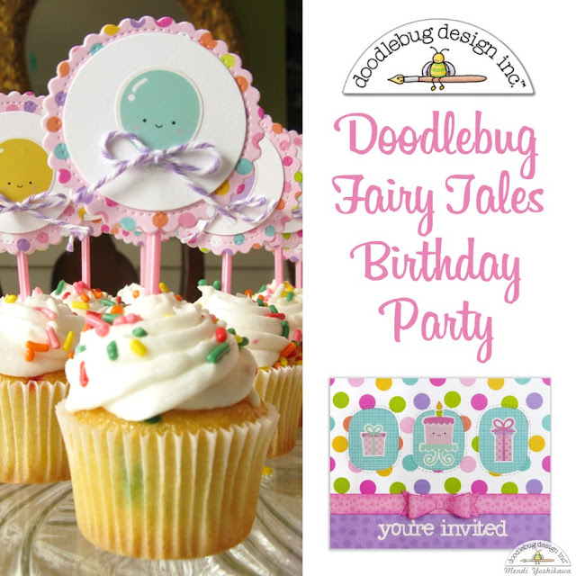 Doodlebug Design Fairy Tales Birthday Party Invitations & Cupcake Toppers for Girls by Mendi Yoshikawa
