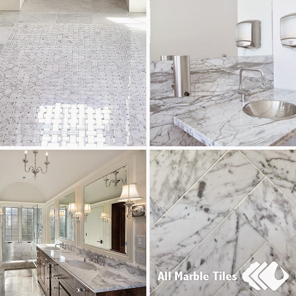 White carrara marble tiles mosaics italian bianco carrera - Carrara marble floor tile bathroom ...