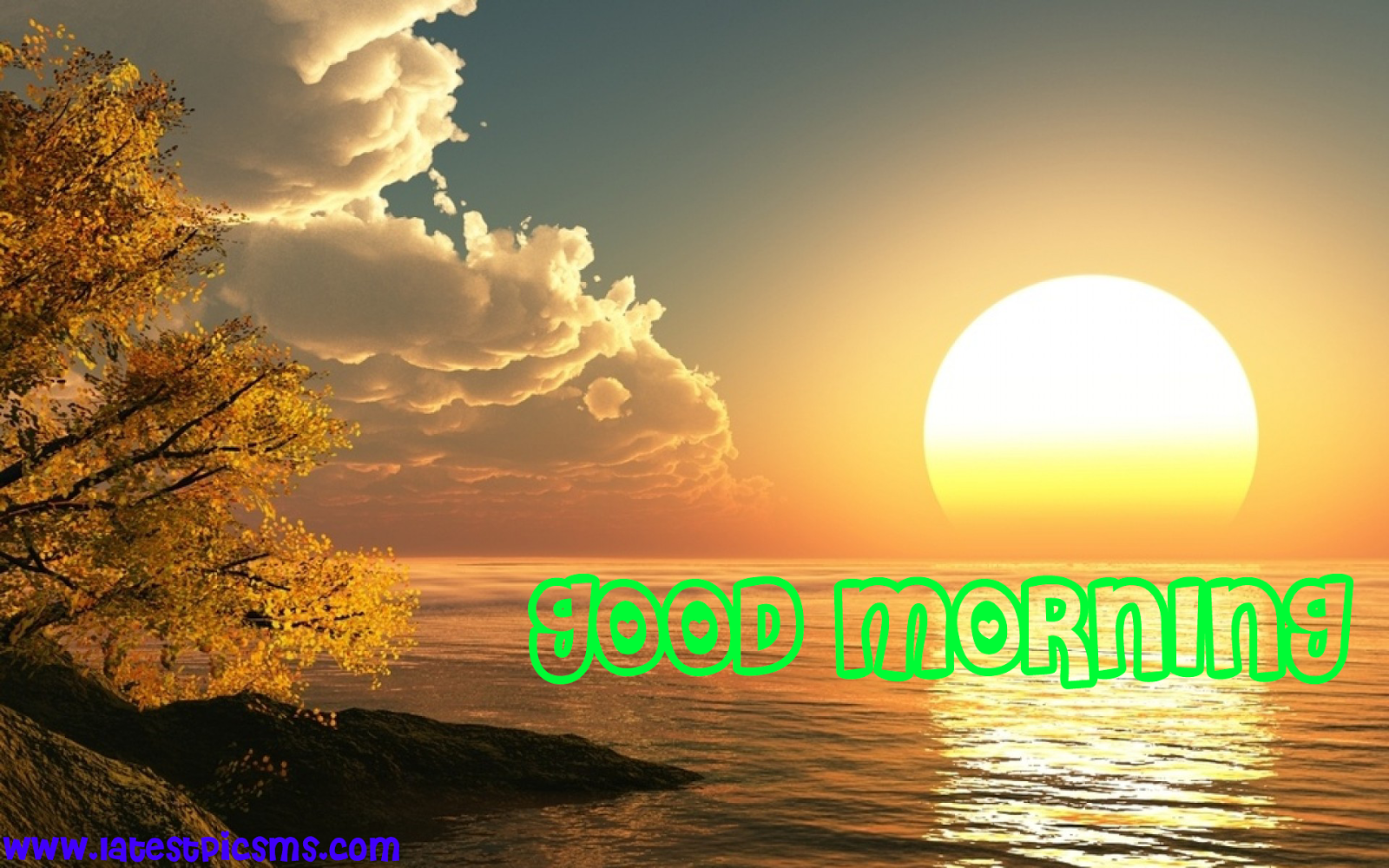 FRESH%2BGOOD%2BMORNING%2BWITH%2BSUNSHINE%2BBEAUTIFUL%2BRIVER%2BSHADOW - A Lovely and Fresh Good Morning HD Picture Messages for Whatsapp & Fb