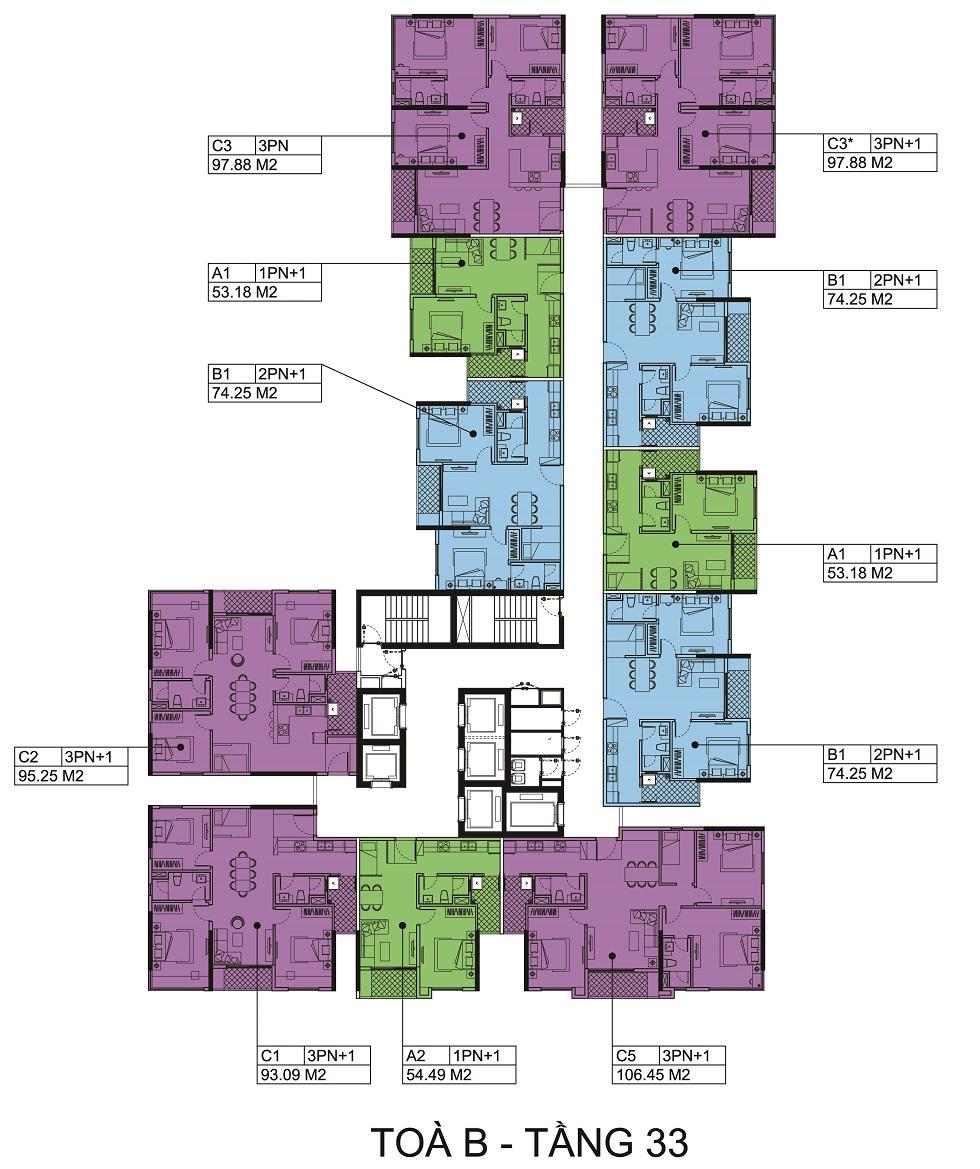 Mặt bằng tầng 33 Block B chung cư The Zen.